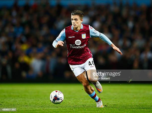 Jack Grealish of Aston Villa in action during the Capital One Cup Third Round match between Aston Villa and Birmingham City at Villa Park on...