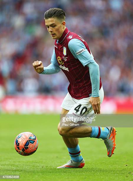 Jack Grealish of Aston Villa in action during the FA Cup Final between Aston Villa and Arsenal at Wembley Stadium on May 30 2015 in London England