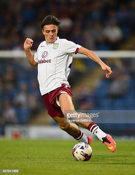 Jack Grealish of Aston Villa in action during the Pre Season Friendly between Cheterfield and Aston Villa at Proact Stadium on July 30 2014 in...