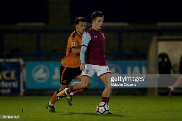 Jack Grealish of Aston Villa in action during the Premier League 2 game between Wolverhampton Wanderers and Aston Villa at New Bucks Head Stadium on...