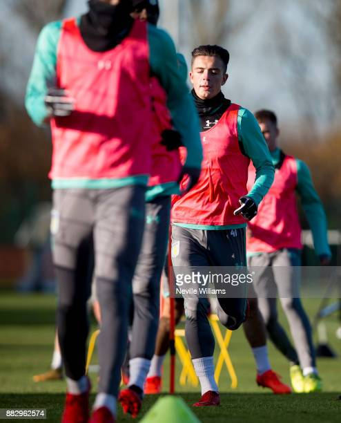 Jack Grealish of Aston Villa in action during training session at the club's training ground at Bodymoor Heath on November 30 2017 in Birmingham...