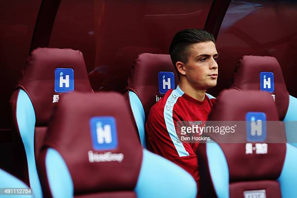 Jack Grealish of Aston Villa is seen on the bench prior to the Barclays Premier League match between Aston Villa and Stoke City at Villa Park on...