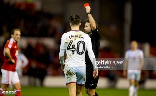 Jack Grealish of Aston Villa is sent off during the Sky Bet Championship match between Nottingham Forest and Aston Villa at the City Ground on...
