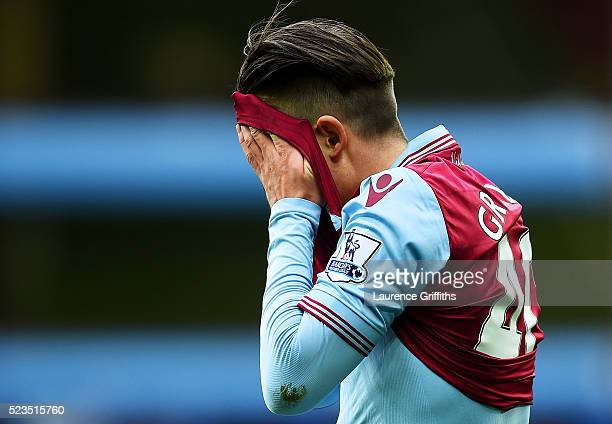 Jack Grealish of Aston Villa looks dejected during the Barclays Premier League match between Aston Villa and Southampton at Villa Park on April 23...