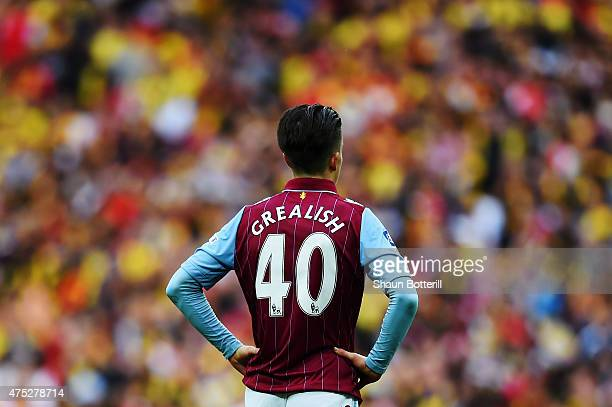Jack Grealish of Aston Villa looks dejected in defeat after the FA Cup Final between Aston Villa and Arsenal at Wembley Stadium on May 30 2015 in...