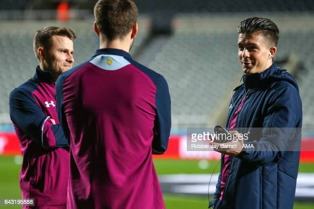 Jack Grealish of Aston Villa pre game during the Sky Bet Championship match between Newcastle United and Aston Villa at St James' Park on February 20...