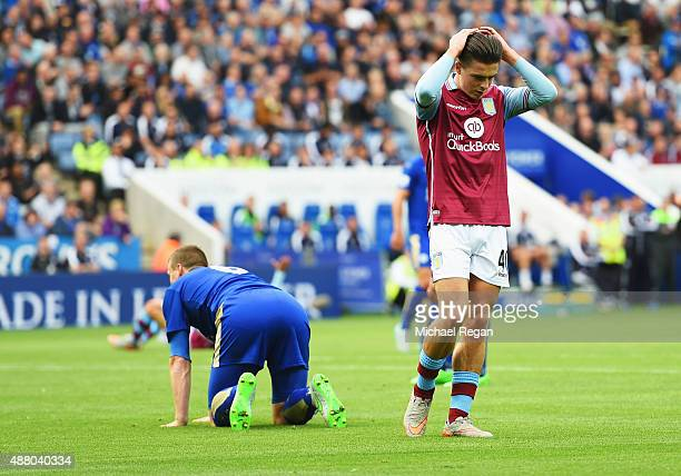 Jack Grealish of Aston Villa reacts after a missed chance during the Barclays Premier League match between Leicester City and Aston Villa at the King...