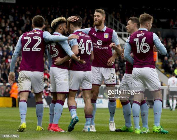 Jack Grealish of Aston Villa scores for Aston Villa during the Sky Bet Championship match between Fulham and Aston Villa at Craven Cottage on April...