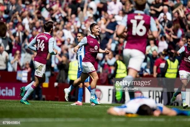 Jack Grealish of Aston Villa scores for Aston Villa during the Sky Bet Championship match between Aston Villa and Brighton Hove Albion at Villa Park...