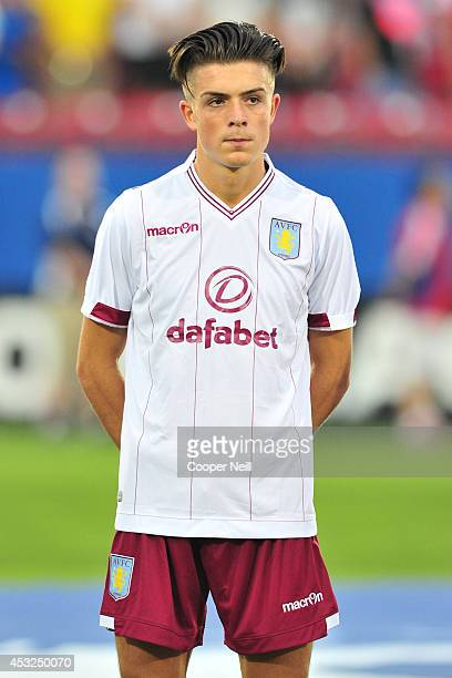 Jack Grealish of Aston Villa stands during the National Anthem before kickoff against FC Dallas during an international friendly on July 23 2014 at...