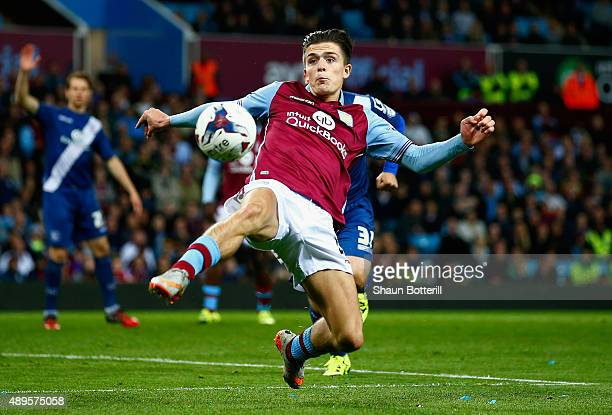Jack Grealish of Aston Villa stretches for the ball during the Capital One Cup third round match between Aston Villa and Birmingham City at Villa...