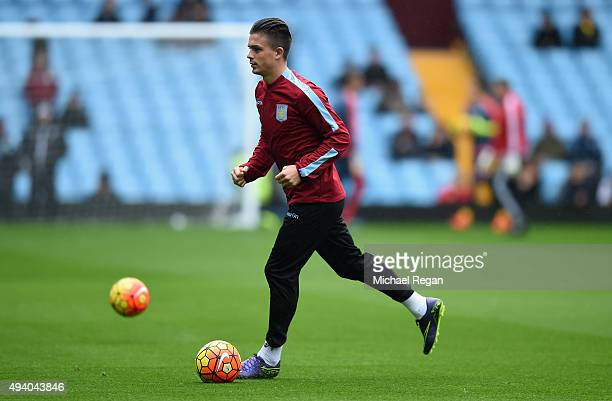 Jack Grealish of Aston Villa warms up prior to the Barclays Premier League match between Aston Villa and Swansea City at Villa Park on October 24...