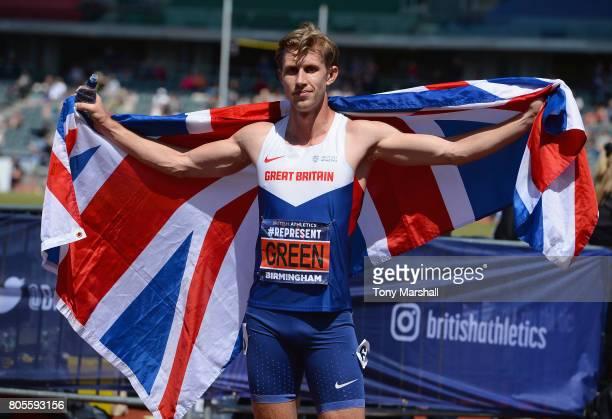 Jack Green celebrates winning the Mens 400m Hurdles Final during the British Athletics World Championships Team Trials at Birmingham Alexander...