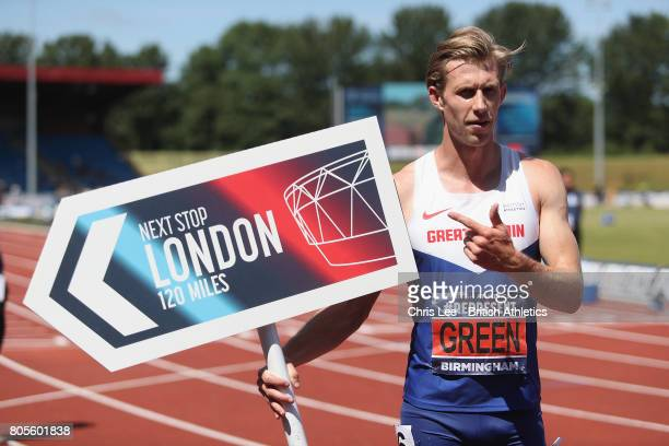 Jack Green of Great Britain celebrates winning the Mens 400m Hurdles Final during Day Two of the British Athletics World Championships Team Trials at...