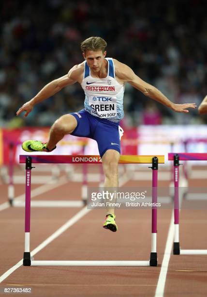Jack Green of Great Britain competes during the Men's 400 metres hurdles semi finals during day four of the 16th IAAF World Athletics Championships...