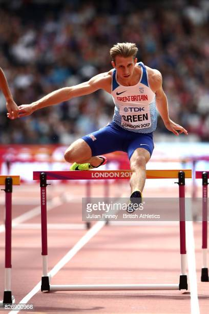 Jack Green of Great Britain competes in the Men's 400 metres hurdles heats during day three of the 16th IAAF World Athletics Championships London...