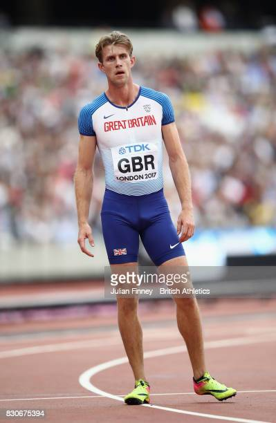 Jack Green of Great Britain competes in the Men's 4x400 Meters Relay heats during day nine of the 16th IAAF World Athletics Championships London 2017...