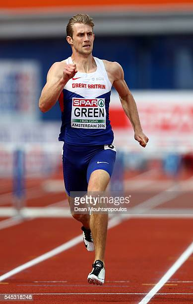 Jack Green of Great Britain in action during his 400m hurdles semi final on day two of The 23rd European Athletics Championships at Olympic Stadium...