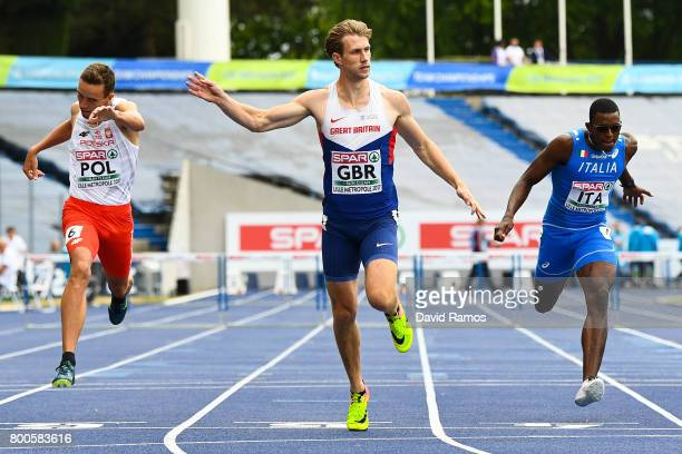 Jack Green of Great Britain wins in the Men's 400m Hurdles Final during day two of the European Athletics Team Championships at the Lille Metropole...