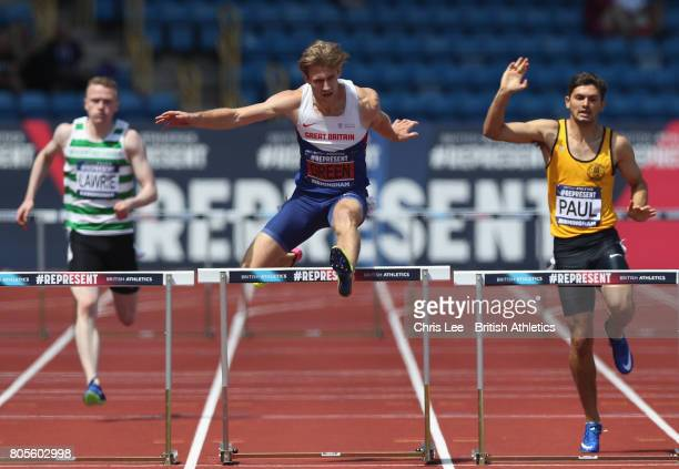 Jack Green of Great Britain wins the Mens 400m Hurdles Final during Day Two of the British Athletics World Championships Team Trials at Birmingham...
