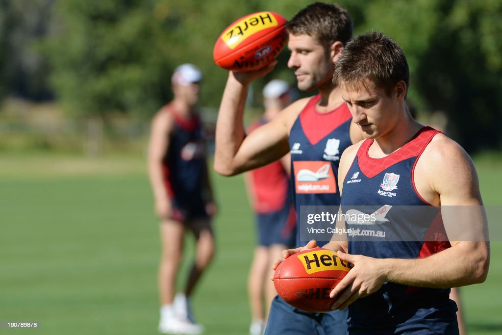 Jack Grimes looks on during a Melbourne Demons AFL training session at Gosch's Paddock on February 6, 2013 in Melbourne, Australia.