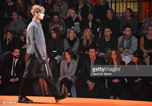 Jack Guinness Alexa Chung Luke Evans Stella McCartney and Salma Hayek attend the Hunter Original AW15 catwalk show during London Fashion Week...