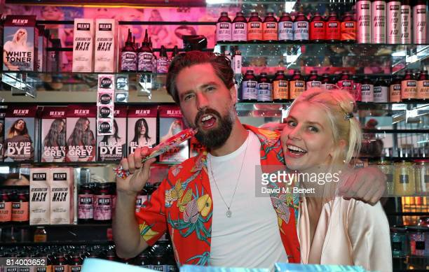 Jack Guinness and Alex Brownsell attend the launch of Bleach London's new makeup and hair collections on July 13 2017 in London England