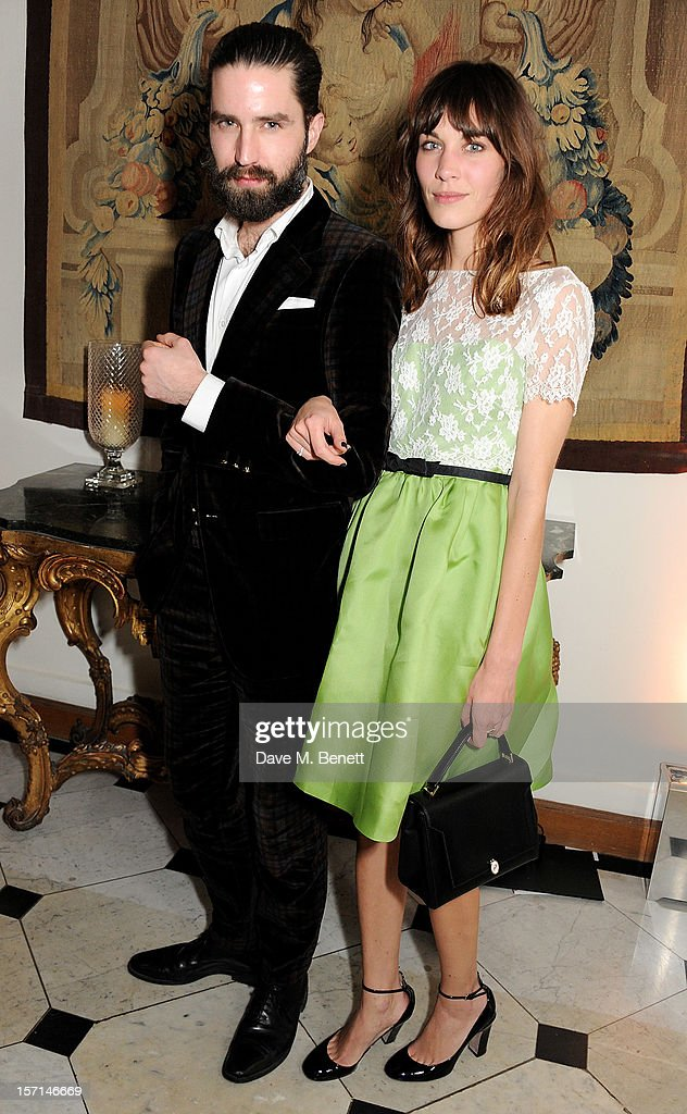 Jack Guinness (L) and Alexa Chung attend a dinner celebrating the launch of 'Valentino: Master Of Couture', the new exhibition showing at Somerset House from November 29, 2012 to March 3, 2013, at the Italian Embassy on November 28, 2012 in London, England.
