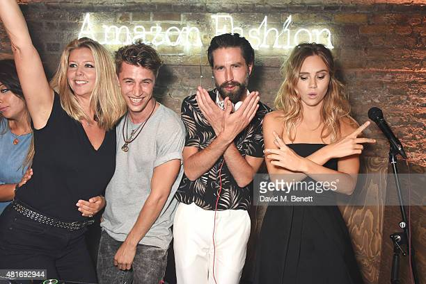 Jack Guinness and Suki Waterhouse dance in the DJ booth with guests at the Amazon Fashion Photography Studio launch party which opened on July 23...