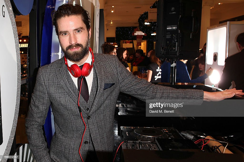 Jack Guinness Dj's at a party celebrating the launch of Alexa Chung's new eyeliner and mascara set for Eyeko at Selfridges on November 14, 2013 in London, England.