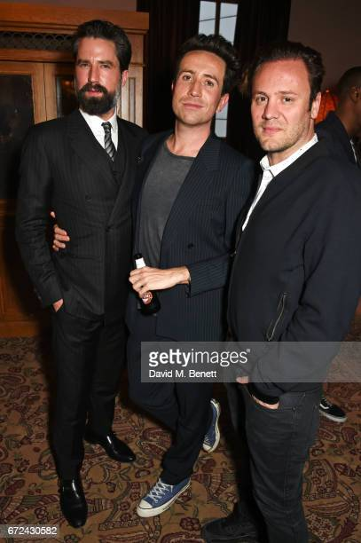 Jack Guinness Nick Grimshaw and Nicholas Kirkwood attend the NetaPorter Mr Porter preopening dinner cohosted by Jenny Dickinson and Jeremy Langmead...