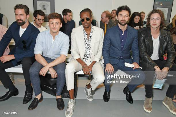 Jack Guinness Tom Daley Vas J Morgan Aidan Turner and Willow Robinson attend the Oliver Spencer SS18 Catwalk Show during London Fashion Week Men's...