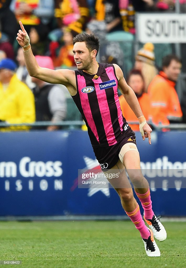 Jack Gunston of the Hawks celebrates kicking a goal during the round 14 AFL match between the Hawthorn Hawks and the Gold Coast Suns at Aurora Stadium on June 26, 2016 in Launceston, Australia.