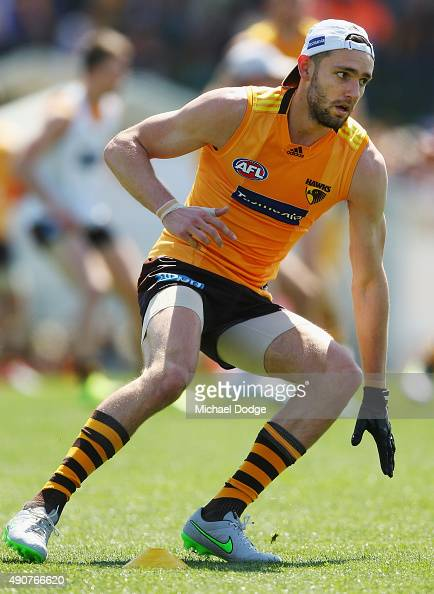 Jack Gunston takes part in an agility fitness test around cones during a Hawthorn Hawks AFL training session at Waverley Park on October 1 2015 in...
