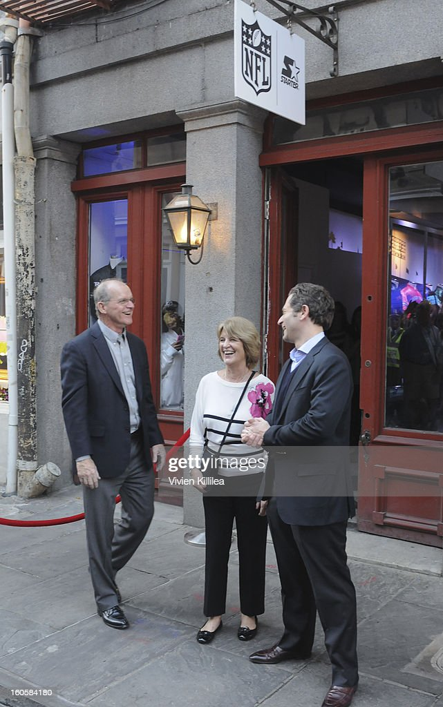 Jack Habaugh, Jackie Harbaugh and sportscaster Jeremy Schaap attend Starter Parlor - Super Bowl XLVII on February 2, 2013 in New Orleans, Louisiana.