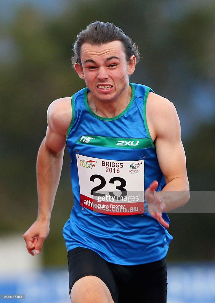 Jack Hale of Tasmania runs in the Men's 100 Meter Dash during the Briggs Athletics Classic on February 13, 2016 in Hobart, Australia.