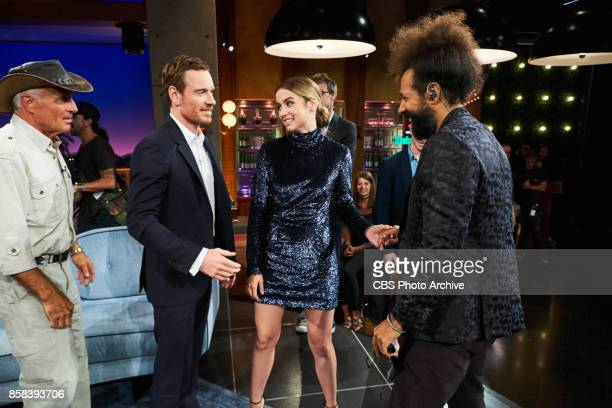 Jack Hanna Michael Fassbender and Ana De Armas say hello to Reggie Watts during 'The Late Late Show with James Corden' Thursday October 5 2017 On The...