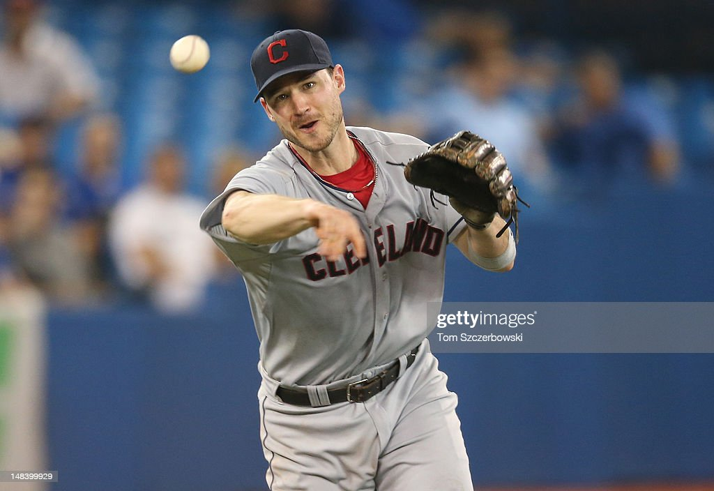 <a gi-track='captionPersonalityLinkClicked' href=/galleries/search?phrase=Jack+Hannahan&family=editorial&specificpeople=579381 ng-click='$event.stopPropagation()'>Jack Hannahan</a> #9 of the Cleveland Indians throws out the runner in the 5th inning during MLB game action against the Toronto Blue Jays on July 15, 2012 at Rogers Centre in Toronto, Ontario, Canada.