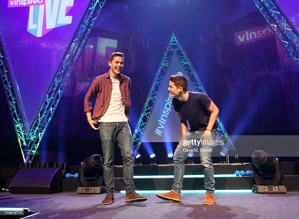 Jack Harries (L) and Finn Harries attend vInspired Live, a youth social change event, at The Roundhouse on July 6, 2013 in London, England.