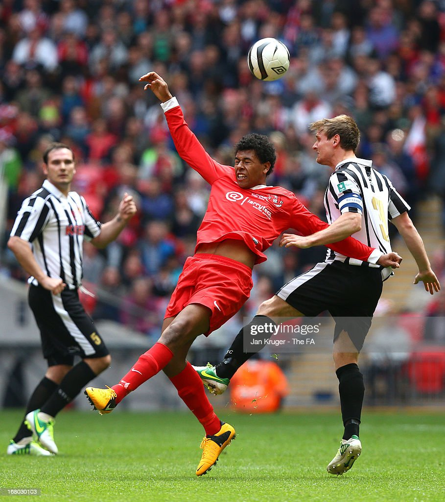 Jack Harris of Tunbridge Wells and Chris Mason of Spennymoor Town competes for the arial ball during the FA Carlsberg Vase Final match between Spennymoor Town FC and Tunbridge Wells FC at Wembley Stadium on May 4, 2013 in London, England.