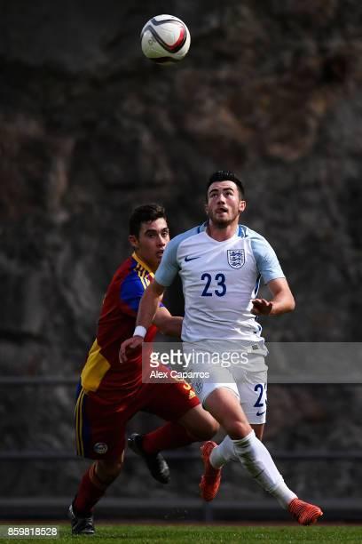 Jack Harrison of England and Eric De Pablos of Andorra during the UEFA European Under 21 Championship Qualifier between Andorra U21 and England U21...