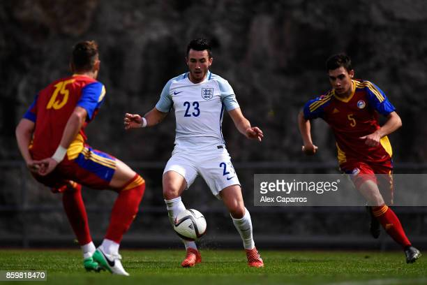 Jack Harrison of England is challenged by Eric De Pablos and Albert Alavedra of Andorra during the UEFA European Under 21 Championship Qualifier...