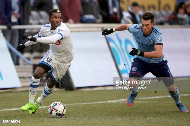 Jack Harrison of New York City FC challenges Ambroise Oyongo of Montreal Impact during the New York City FC Vs Montreal Impact regular season MLS...