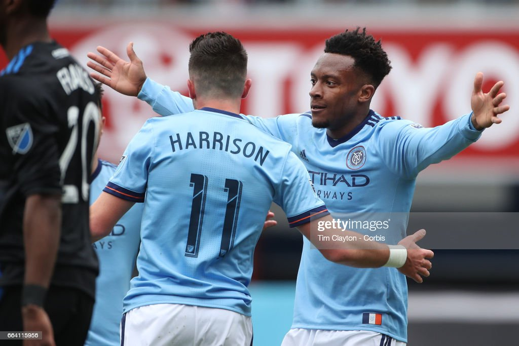Jack Harrison #11 of New York City FC is congratulated by Rodney Wallace #23 of New York City FC after scoring during the New York City FC Vs San Jose Earthquakes regular season MLS game at Yankee Stadium on April 1, 2017 in New York City.