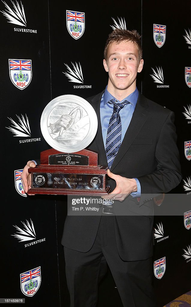 Jack Hawksworth with the Henry Surtees Award awarded annually for the most outstanding performance for a BRDC Rising Star at the British Racing Drivers Club awards at Grand Connaught Rooms on December 3, 2012 in London, England.