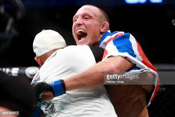 Jack Hermansson of Denmark celebrates his victory against Bradley Scott of England during the UFC Fight Night Mexico City at Arena Ciudad de Mexico...