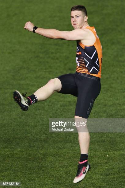 Jack Higgins from Oakley Chargers kicks the ball at goal during the AFLW Draft Combine at Etihad Stadium on October 4 2017 in Melbourne Australia