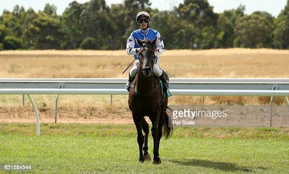 Jack Hill returns to the mounting yard on Kookiecutter after winning Bakers Brew Ararat BM58 Handicapat Ararat Racecourse on January 13 2017 in...
