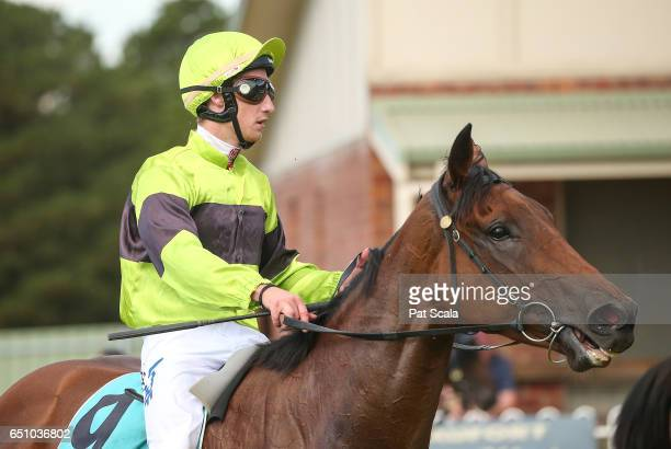 Jack Hill returns to the mounting yard on Pass the Glass after winning Ararat Farm Supplies BM58 Handicap at Ararat Racecourse on March 10 2017 in...