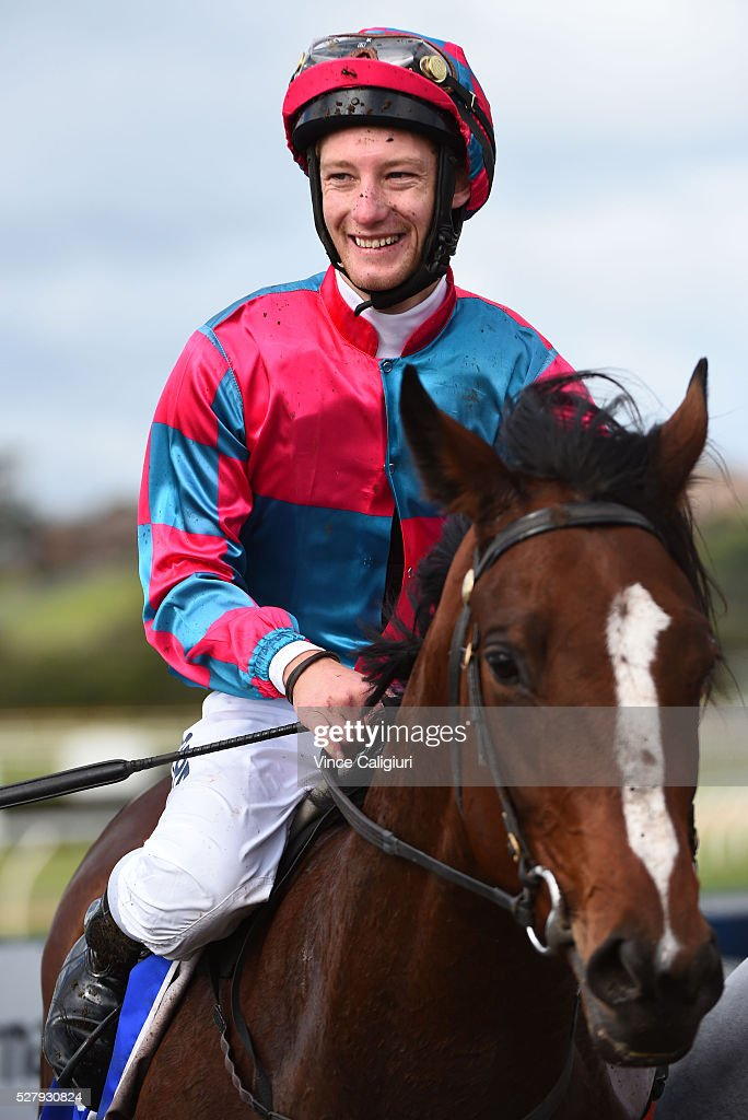 Jack Hill riding Vatiaz after winning Race 3 during Brierly Day at Warrnambool Race Club on May 4, 2016 in Warrnambool, Australia.